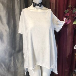 Free People Velour plush off white high low comfy